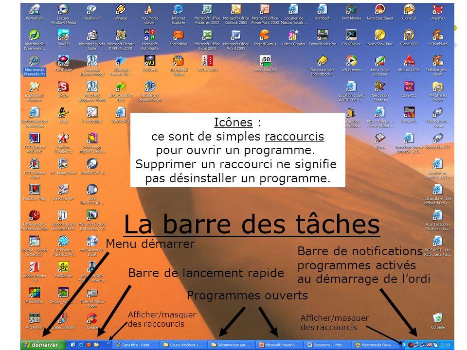 Le bureau – Raccourcis et icônes La barre des tâches