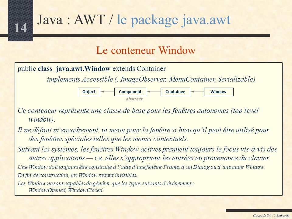 Java : AWT / le package java.awt