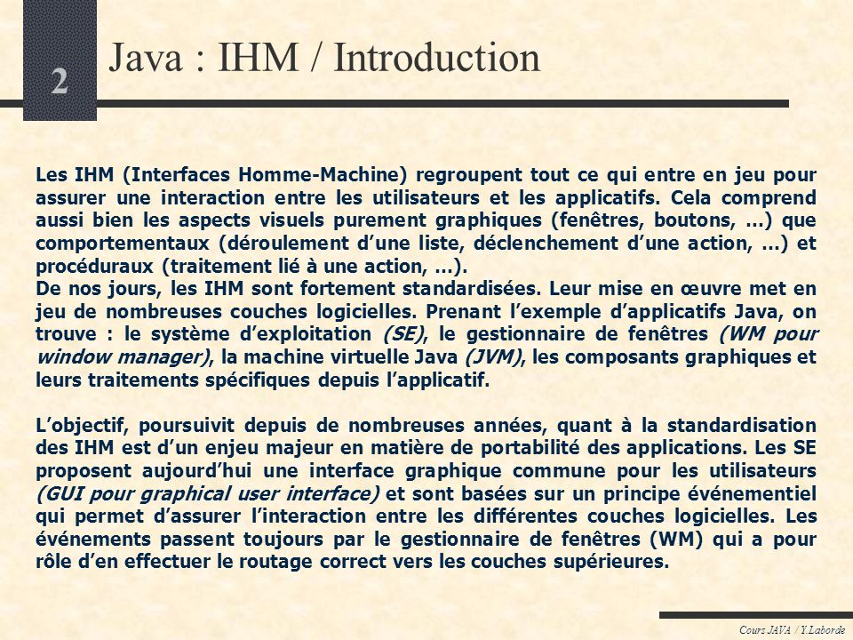 Java : IHM / Introduction