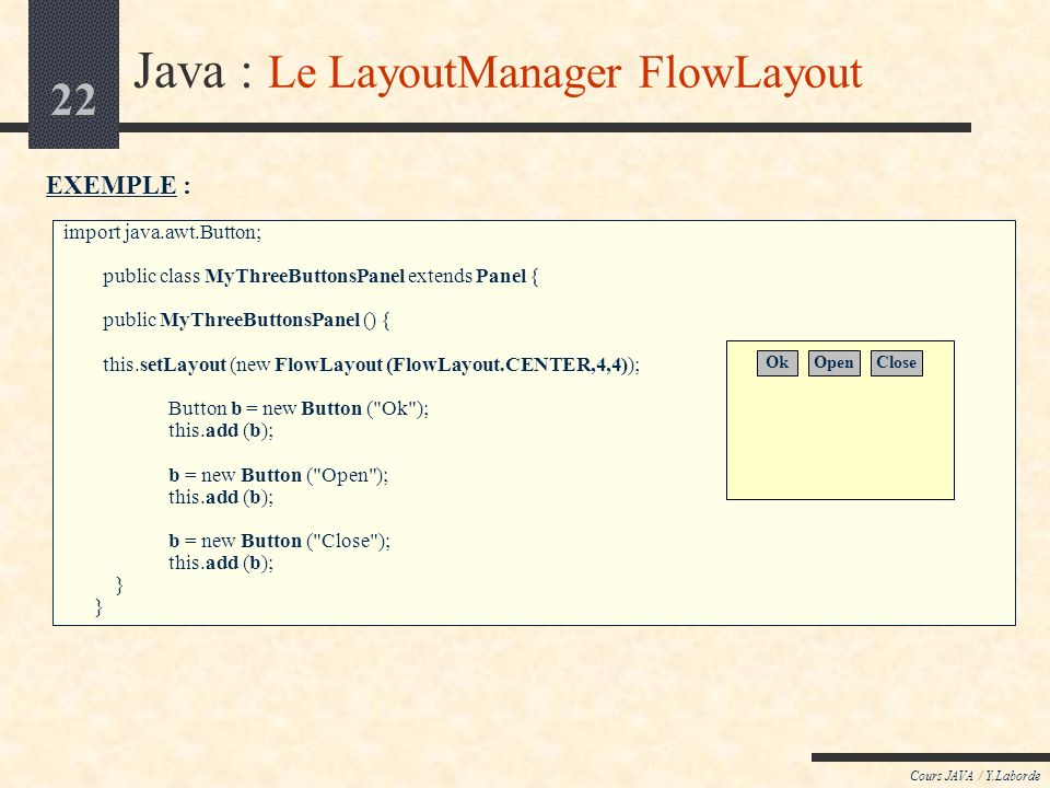 Java : Le LayoutManager FlowLayout