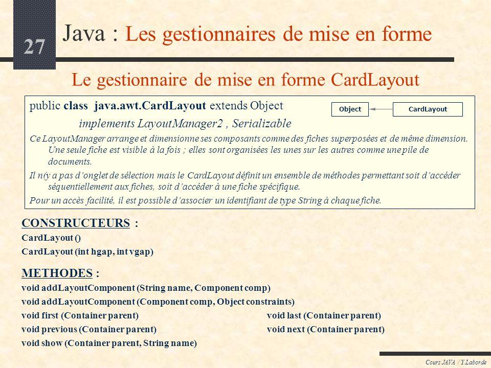 Le gestionnaire de mise en forme CardLayout