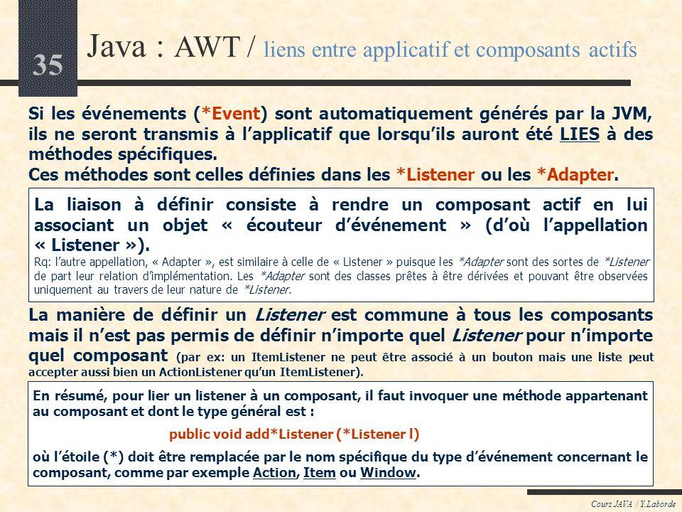 Java : AWT / liens entre applicatif et composants actifs
