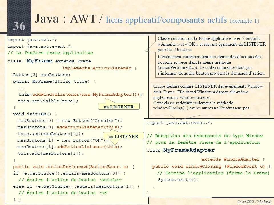 Java : AWT / liens applicatif/composants actifs (exemple 1)