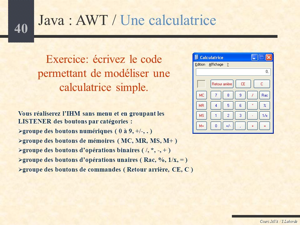 Java : AWT / Une calculatrice