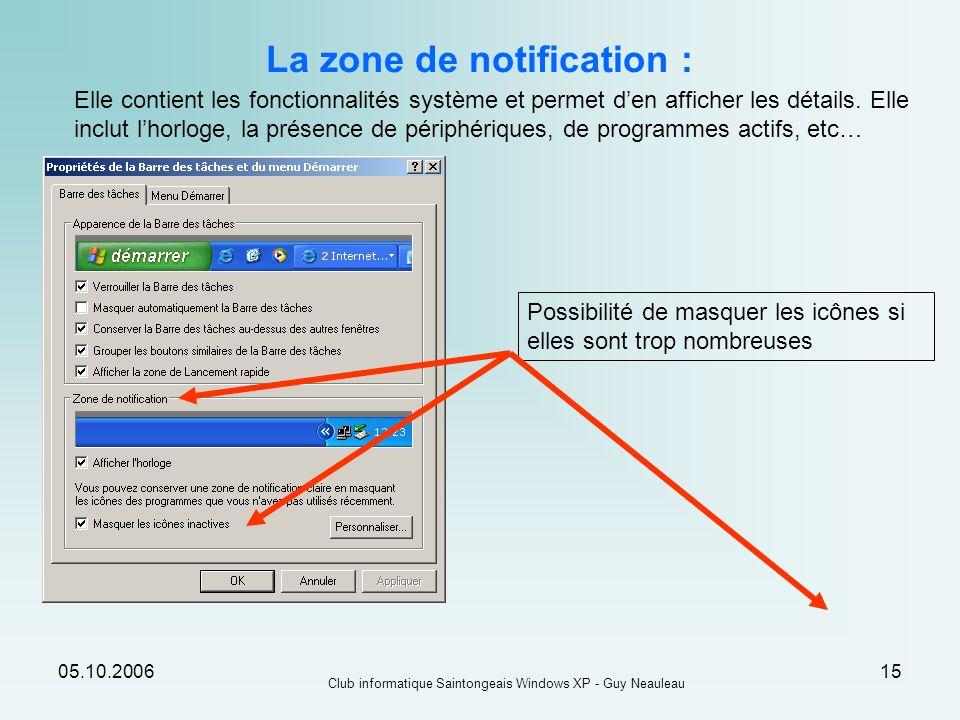 La zone de notification :
