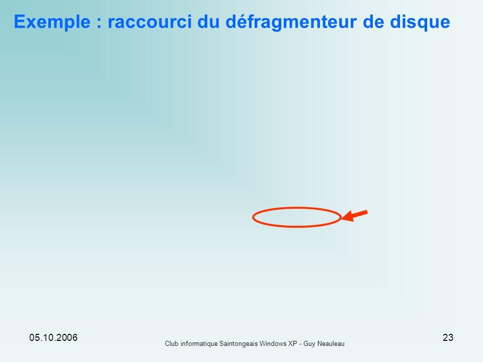 Exemple : raccourci du défragmenteur de disque