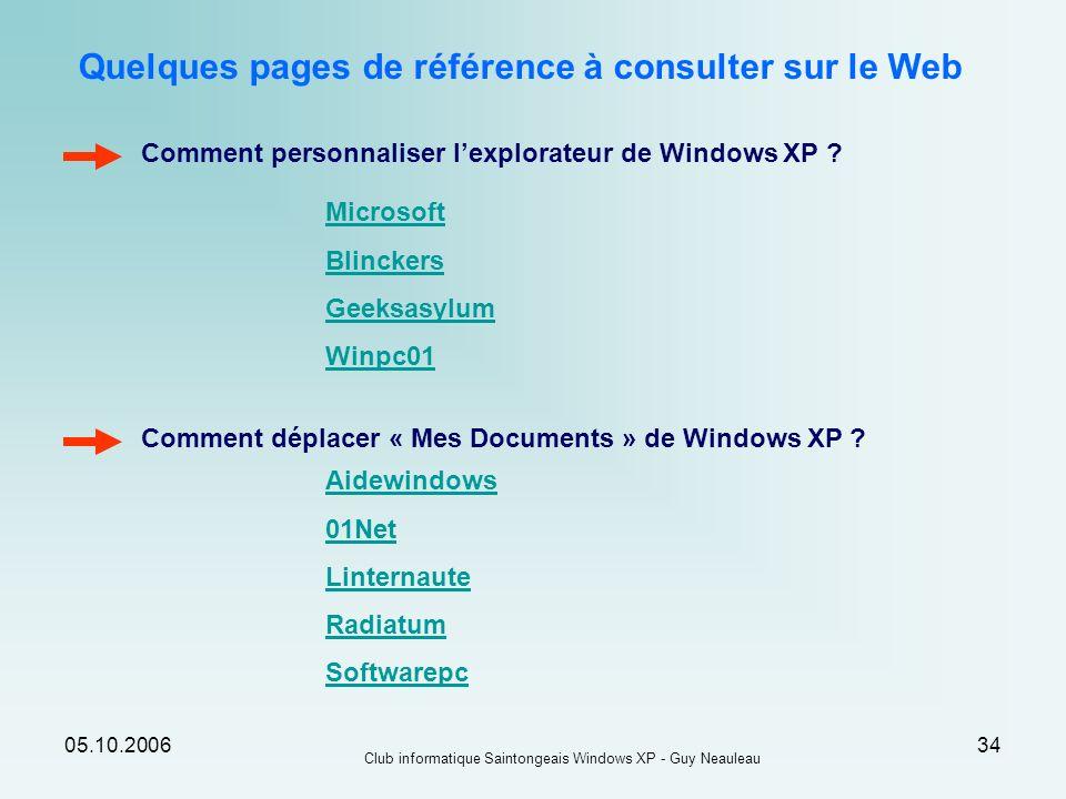 Quelques pages de référence à consulter sur le Web