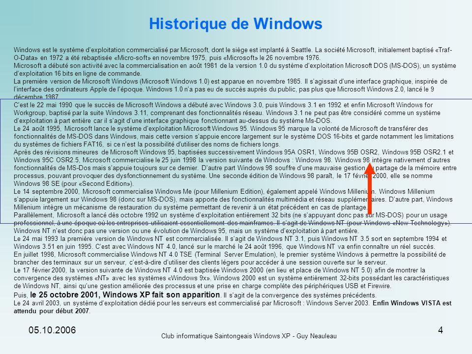 Club informatique Saintongeais Windows XP - Guy Neauleau