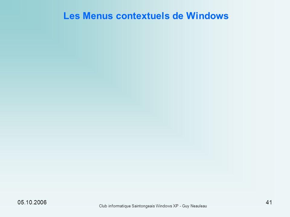 Les Menus contextuels de Windows