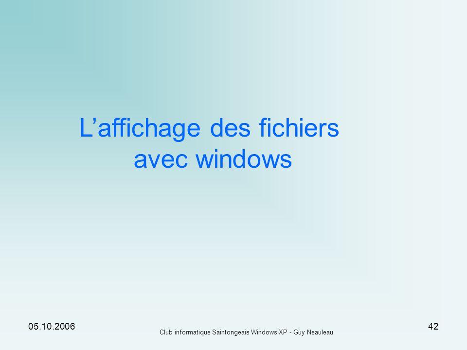 L'affichage des fichiers avec windows