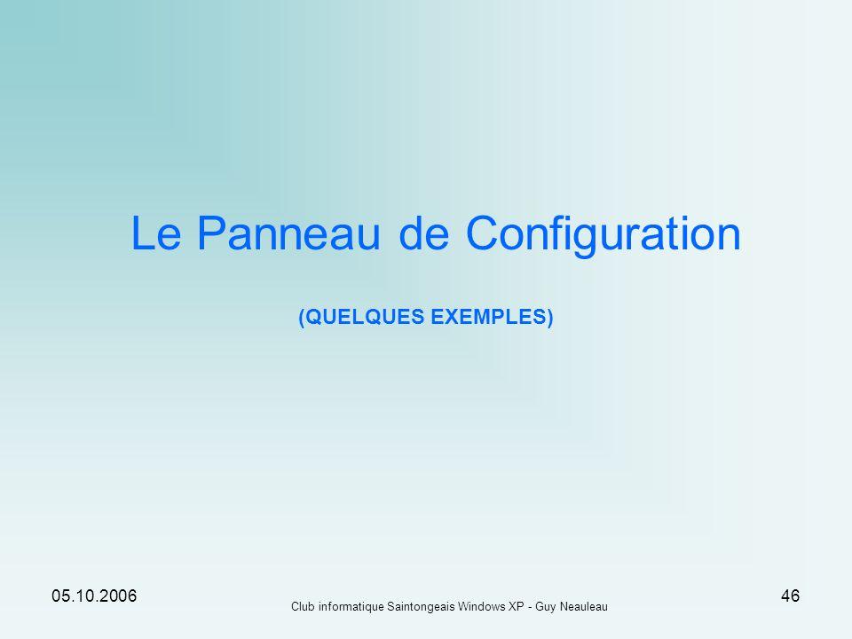 Le Panneau de Configuration