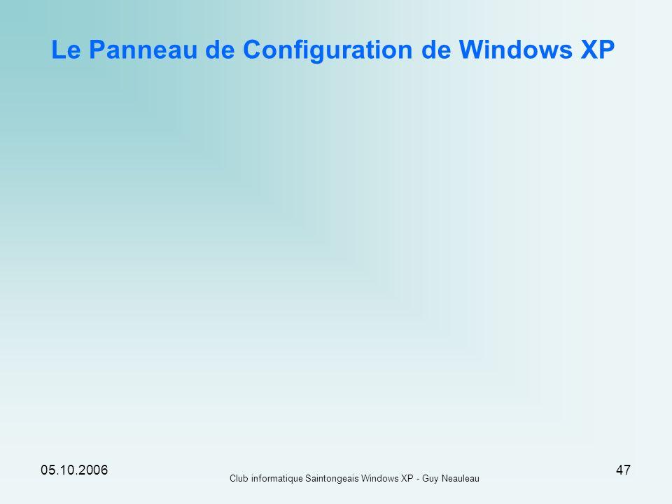 Le Panneau de Configuration de Windows XP