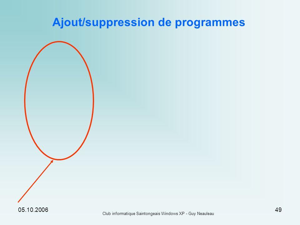 Ajout/suppression de programmes