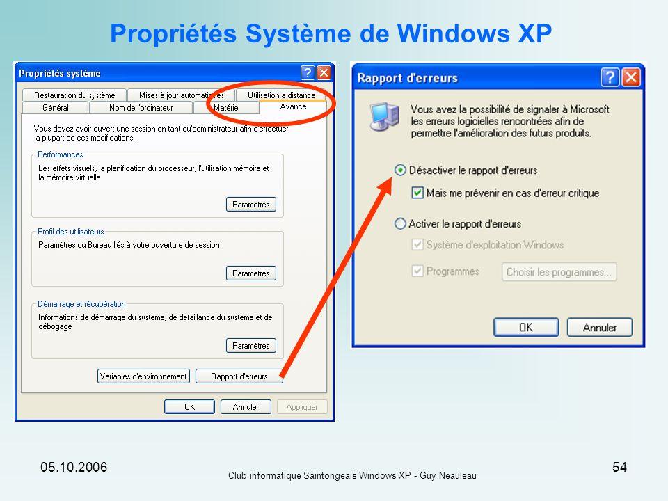 Propriétés Système de Windows XP