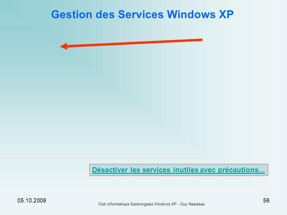 Gestion des Services Windows XP
