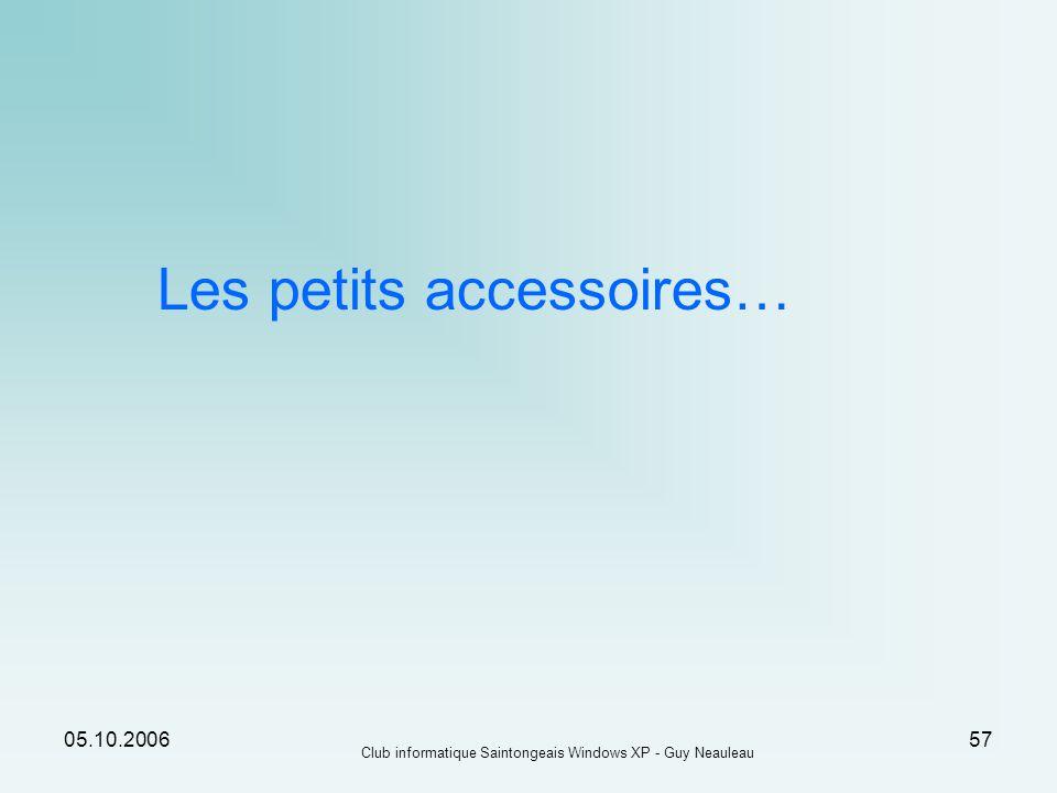 Les petits accessoires…