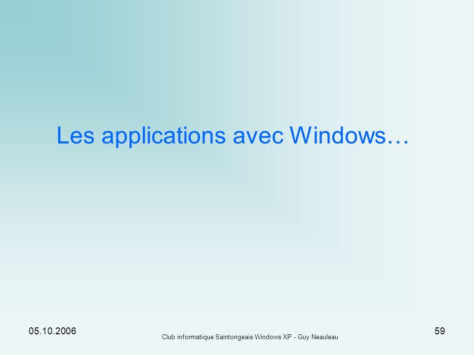 Les applications avec Windows…