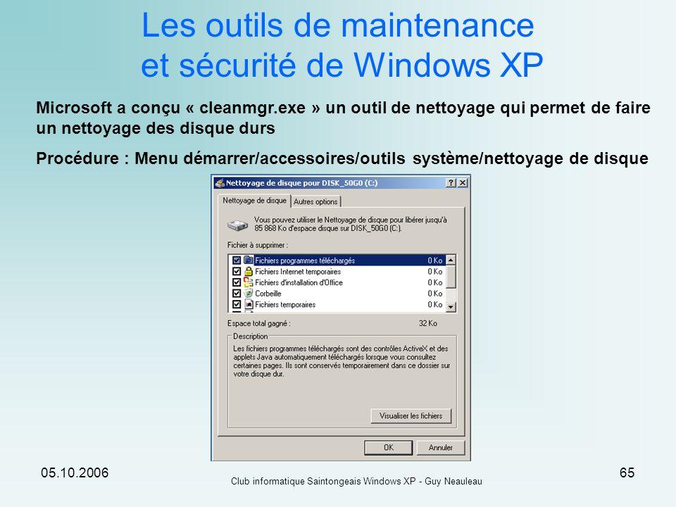 Les outils de maintenance et sécurité de Windows XP