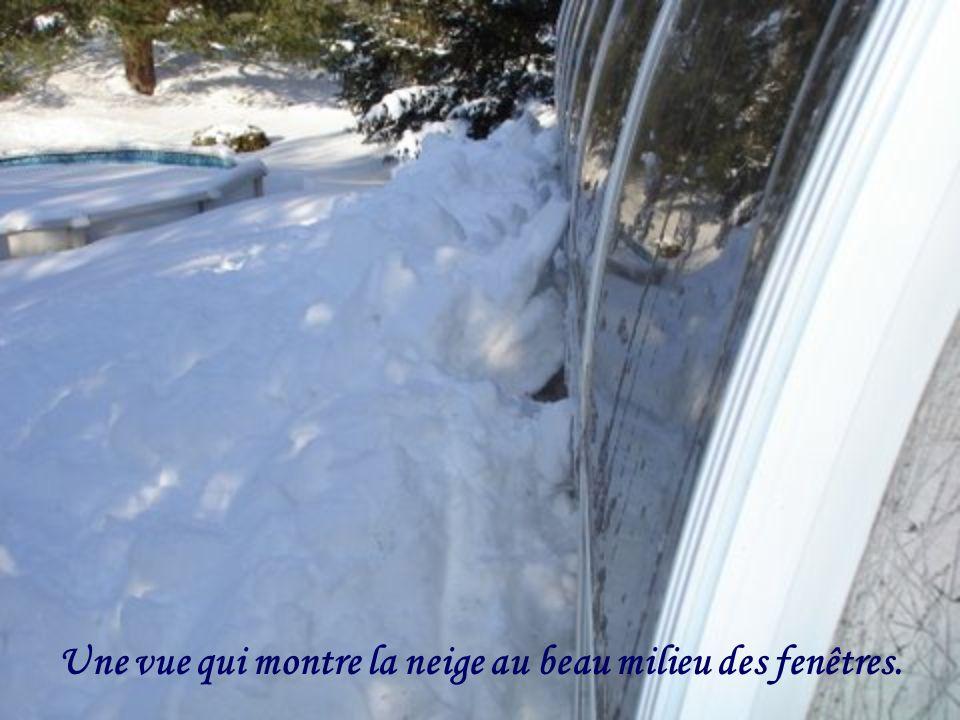 Une vue qui montre la neige au beau milieu des fenêtres.