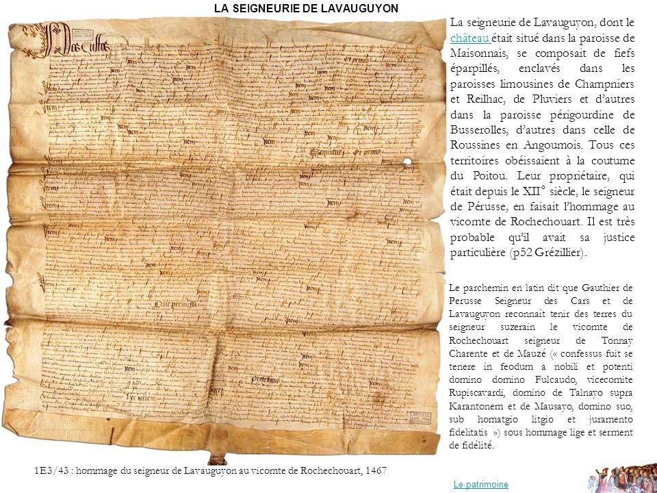 LA SEIGNEURIE DE LAVAUGUYON