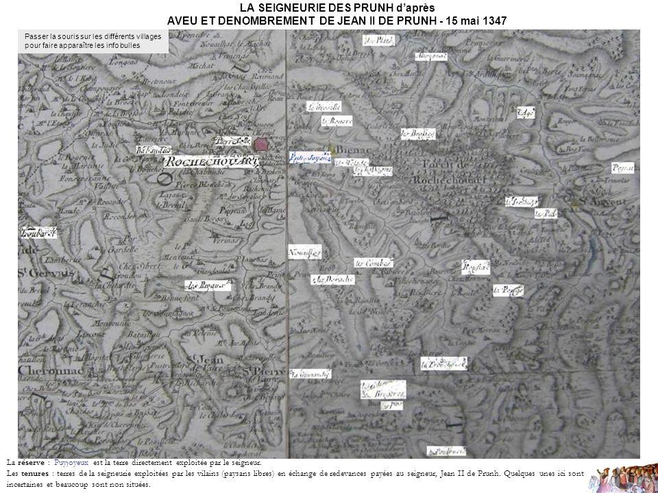 LA SEIGNEURIE DES PRUNH d'après AVEU ET DENOMBREMENT DE JEAN II DE PRUNH - 15 mai 1347