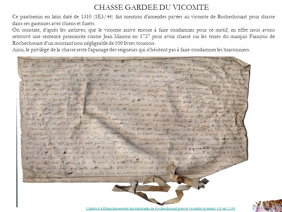 CHASSE GARDEE DU VICOMTE