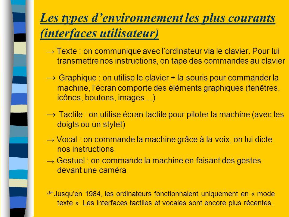 Les types d'environnement les plus courants (interfaces utilisateur)