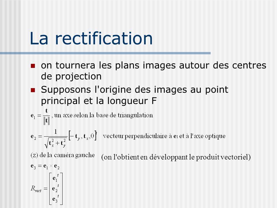La rectification on tournera les plans images autour des centres de projection. Supposons l origine des images au point principal et la longueur F.