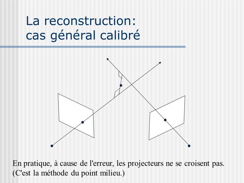 La reconstruction: cas général calibré