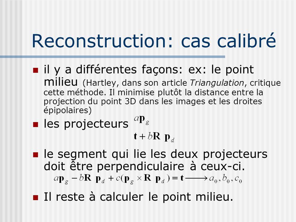 Reconstruction: cas calibré