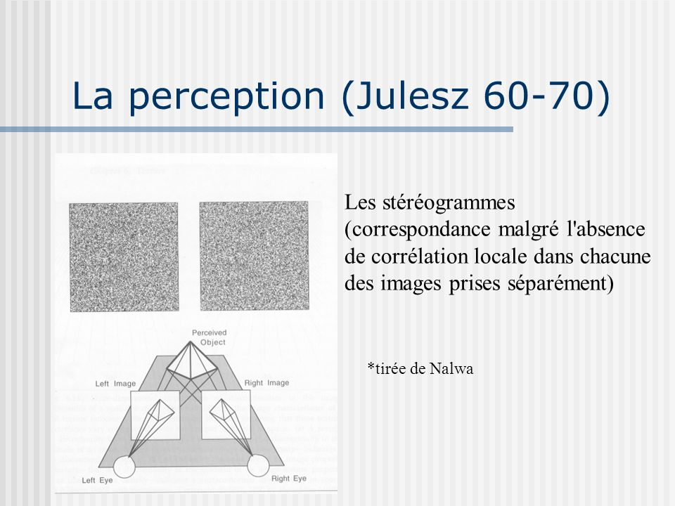 La perception (Julesz 60-70)