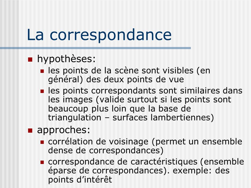 La correspondance hypothèses: approches: