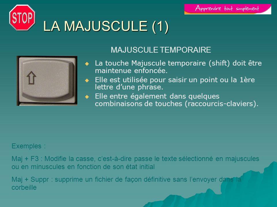 LA MAJUSCULE (1) MAJUSCULE TEMPORAIRE