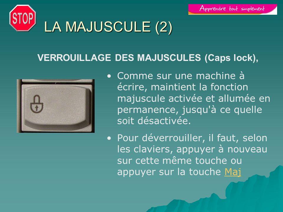 LA MAJUSCULE (2) VERROUILLAGE DES MAJUSCULES (Caps lock),