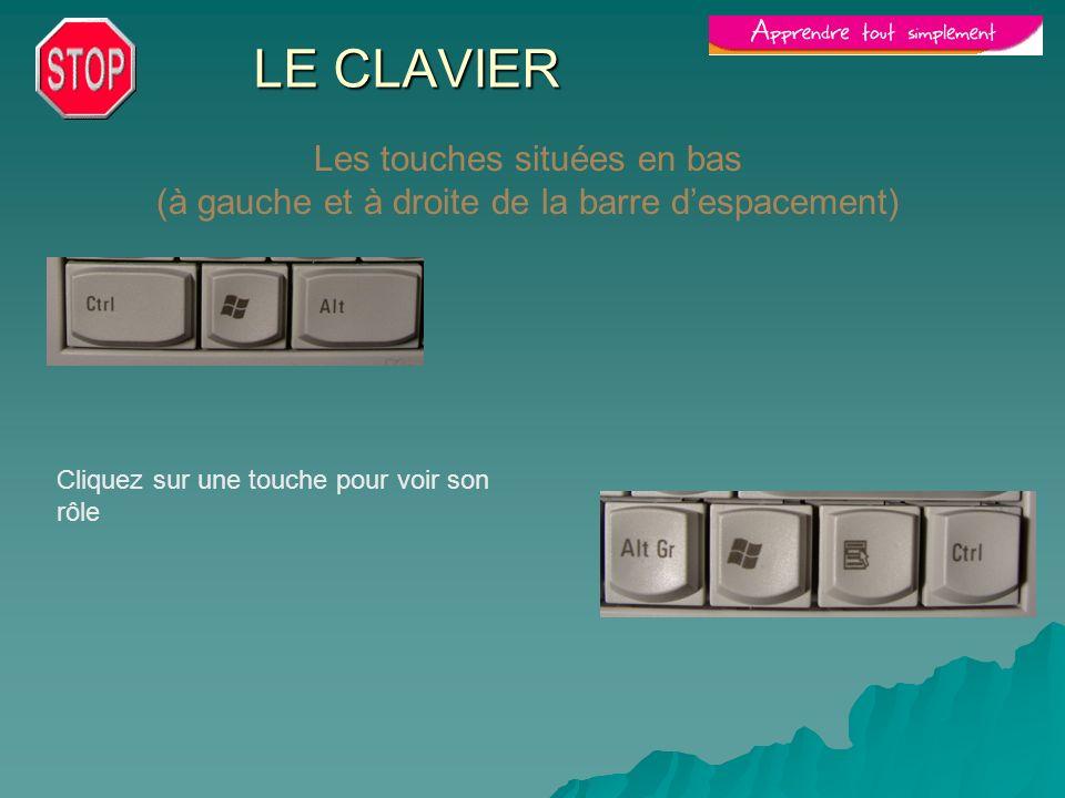 LE CLAVIER Les touches situées en bas (à gauche et à droite de la barre d'espacement) Cliquez sur une touche pour voir son rôle.