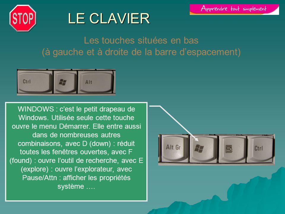 LE CLAVIER Les touches situées en bas (à gauche et à droite de la barre d'espacement)