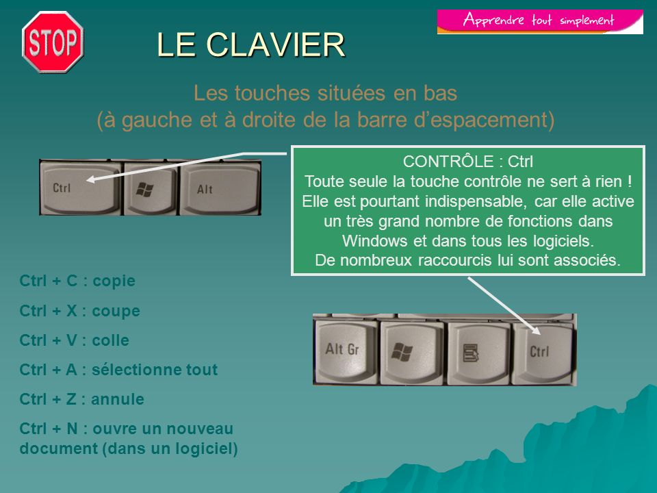 LE CLAVIER Les touches situées en bas (à gauche et à droite de la barre d'espacement) CONTRÔLE : Ctrl.