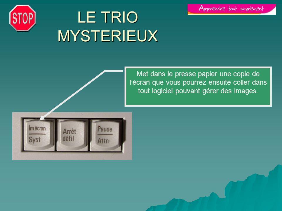 LE TRIO MYSTERIEUX Met dans le presse papier une copie de l'écran que vous pourrez ensuite coller dans tout logiciel pouvant gérer des images.