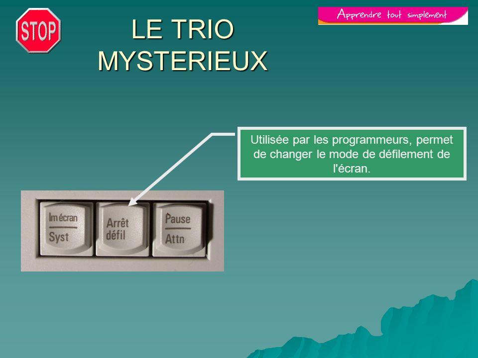 LE TRIO MYSTERIEUX Utilisée par les programmeurs, permet de changer le mode de défilement de l écran.