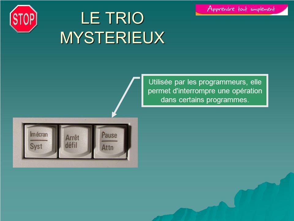 LE TRIO MYSTERIEUX Utilisée par les programmeurs, elle permet d interrompre une opération dans certains programmes.