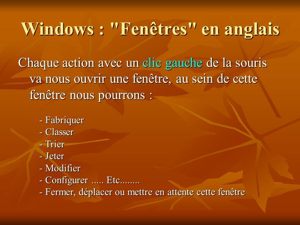 Windows : Fenêtres en anglais
