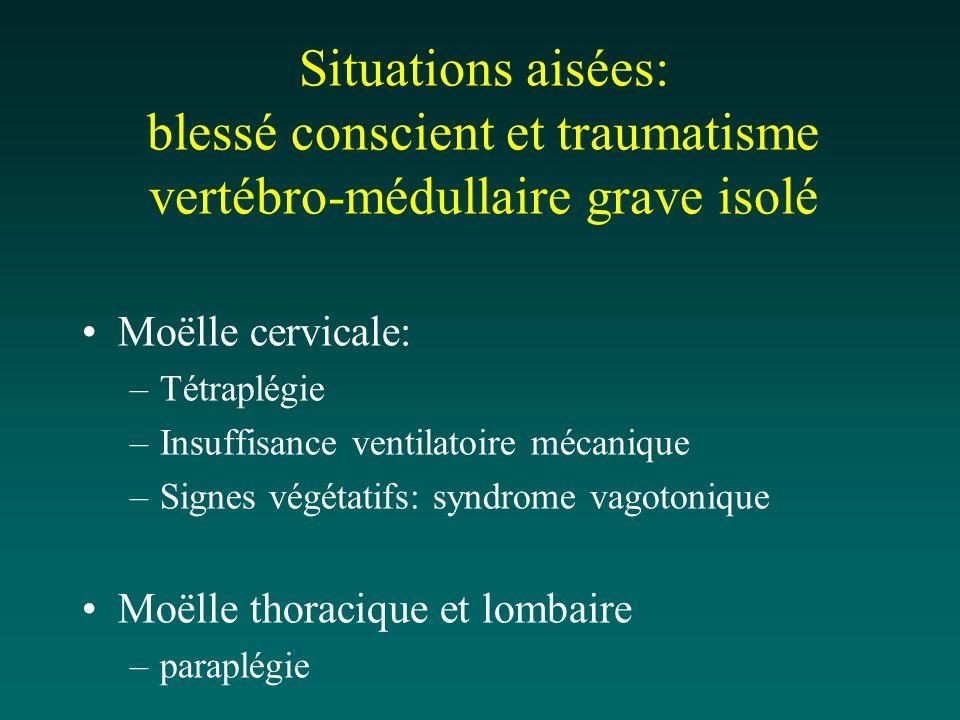 Situations aisées: blessé conscient et traumatisme vertébro-médullaire grave isolé