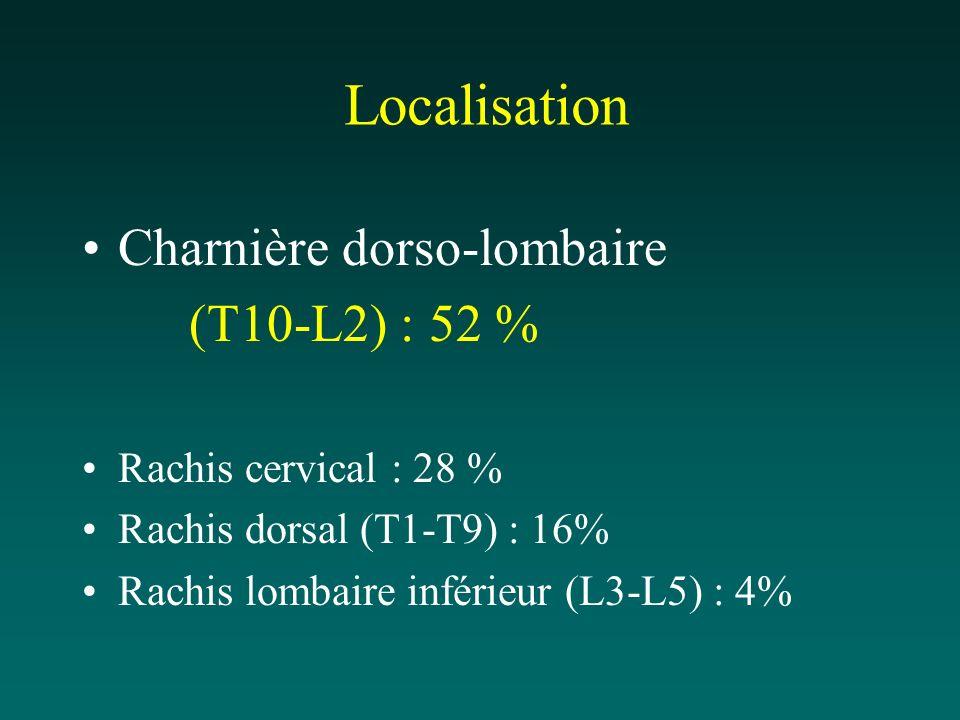 Localisation Charnière dorso-lombaire (T10-L2) : 52 %