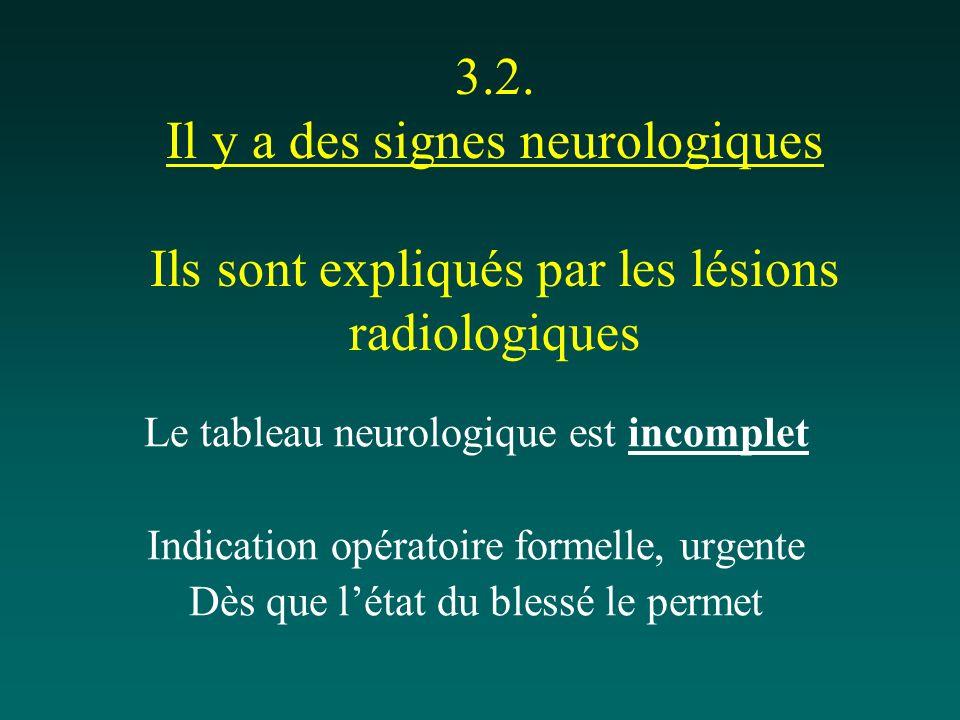 3.2. Il y a des signes neurologiques Ils sont expliqués par les lésions radiologiques