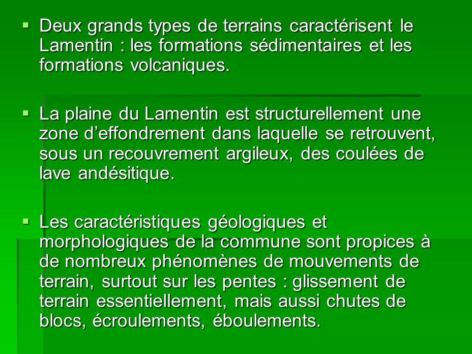 Deux grands types de terrains caractérisent le Lamentin : les formations sédimentaires et les formations volcaniques.
