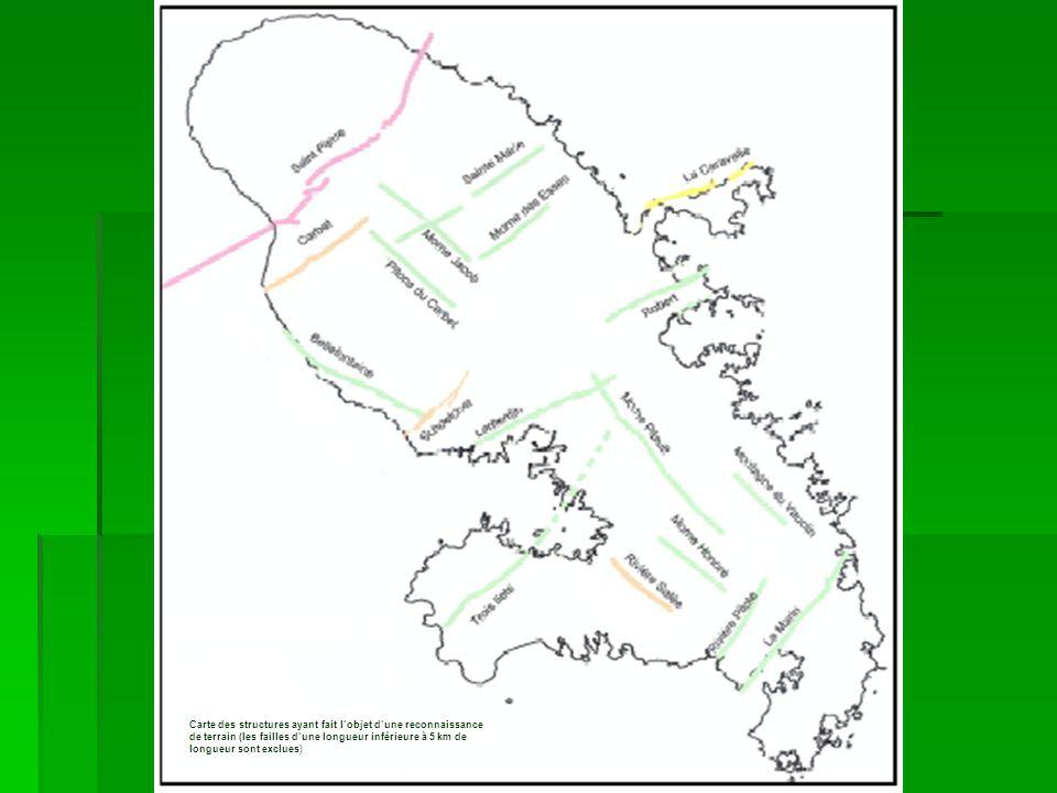 Carte des structures ayant fait l'objet d'une reconnaissance de terrain (les failles d'une longueur inférieure à 5 km de longueur sont exclues)