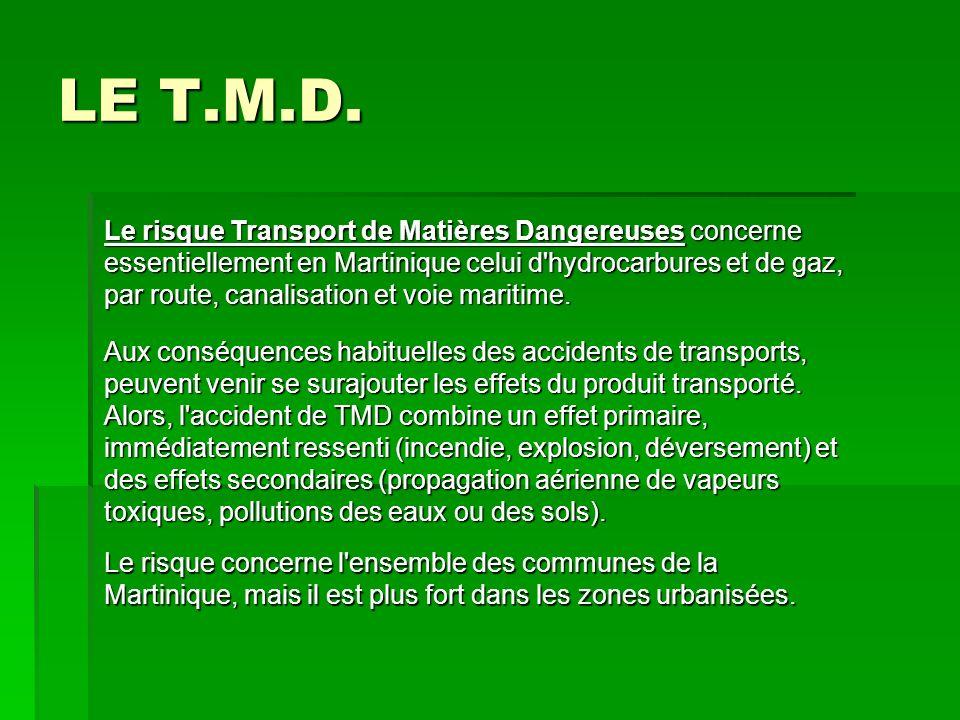 LE T.M.D. Le risque Transport de Matières Dangereuses concerne