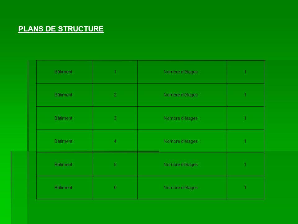PLANS DE STRUCTURE Bâtiment : 1 Nombre d'étages : 2 3 4 5 6