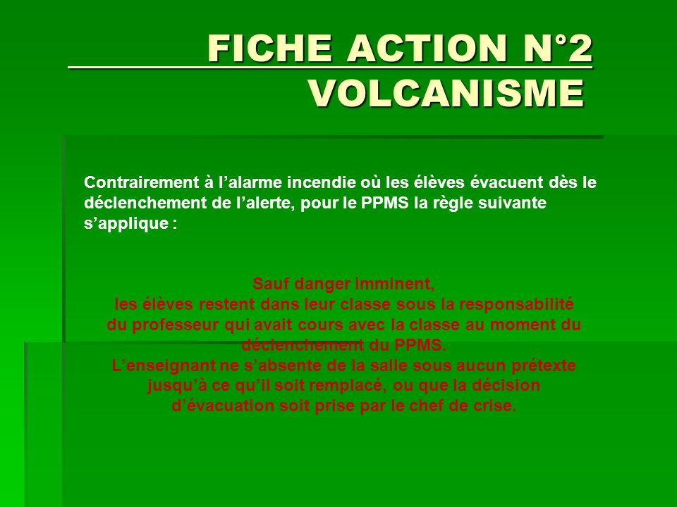 FICHE ACTION N°2 VOLCANISME
