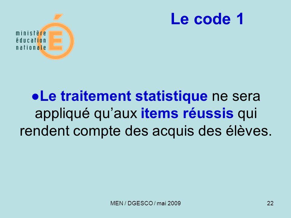 Le code 1 ●Le traitement statistique ne sera appliqué qu'aux items réussis qui rendent compte des acquis des élèves.